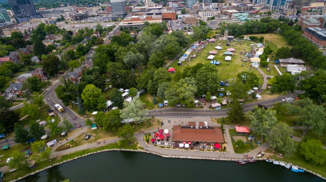 Aerial Photo of Kitchener-Waterloo Multicultural Festival, Victoria Park, Kitchener, Ontario
